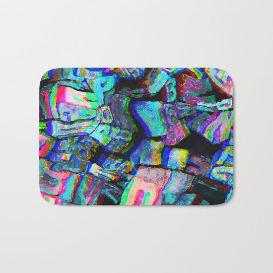 Twisted Text And Colors Bath Mat