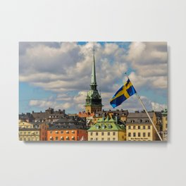Stockholm and the Swedish Flag Metal Print