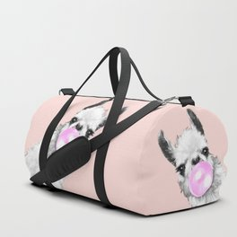 Bubble Gum Black and White Sneaky Llama in Pink Duffle Bag