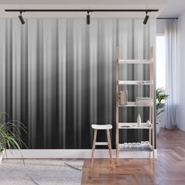 Black And White Soft Blurred Vertical Lines - Ombre Abstract Blurred Design Wall Mural