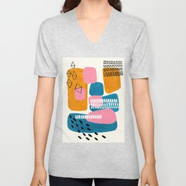 Mid Century Modern abstract Minimalist Fun Colorful Shapes Patterns Pink Teal Yellow Ochre Bubbles Unisex V-Neck