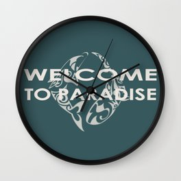 THE ISLAND . with text Wall Clock