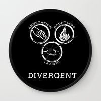 divergent Wall Clocks featuring Divergent (White) by Lunil