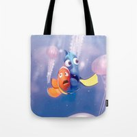 nemo Tote Bags featuring Finding Nemo by Max Jones