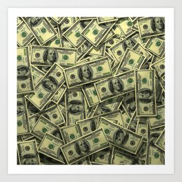 100 dollar cash get rich Art Print