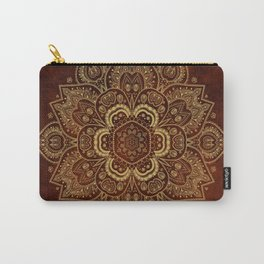 Gold Flower Mandala on Red Textured Background Carry-All Pouch