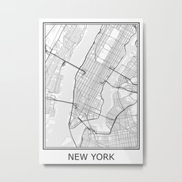 New York City Map Black and White Metal Print