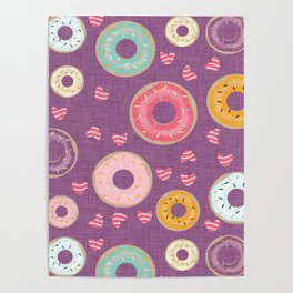 hearts and donuts purple Poster