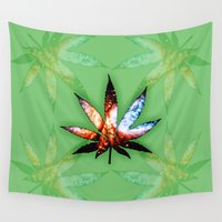 marijuana Wall Tapestries featuring Marijuana Leaf - Design 1 by Spooky Dooky