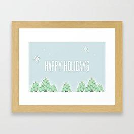 Happy Holiday Trees Framed Art Print