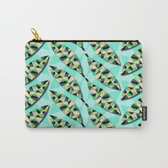 Geometric Leaves Carry-All Pouch