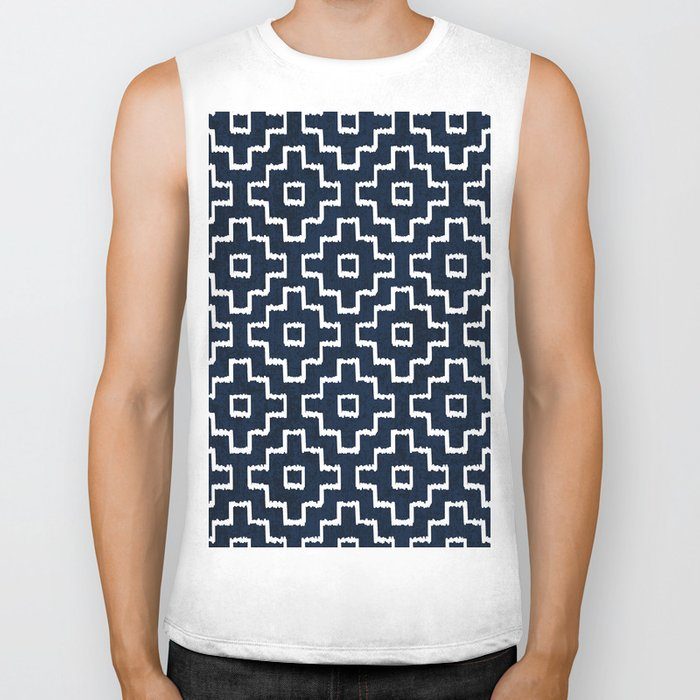 Blue Geometric Pattern Biker Tank