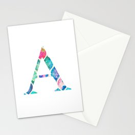 Summer Watercolor Pattern Alpha A Stationery Cards