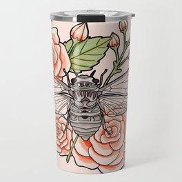 Cicada with Roses - Pink Travel Mug