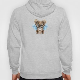 Cheetah Cub with Fairy Wings Wearing Glasses on Blue Hoody