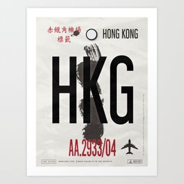 Vintage Hong Kong Luggage Tag Poster Art Print