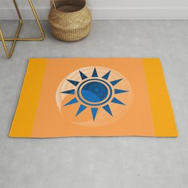 Orange Moon Blue Star Abstract Rug