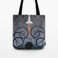 gravity Tote Bags featuring Gravity by milanova
