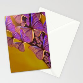 Shiny Purple Butterflies On A Ocher Color Background #decor #society6 Stationery Cards