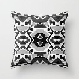 Geometric Aztec - black and white Throw Pillow