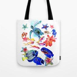 Sea World,Underwater Scene coral sea, beach tropical ocean sea beach house design Tote Bag