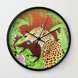 Leopard in Jungle, Coral Sunset Background Wall Clock