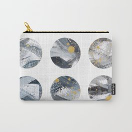 Gray and Gold Abstract Space Dots Carry-All Pouch