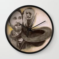 jared leto Wall Clocks featuring Jared Leto and Ripley the monkey by Jenn
