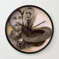 ripley Wall Clocks featuring Jared Leto and Ripley the monkey by Jenn