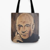 picard Tote Bags featuring Jean-Luc Picard (Patrick Stewart)  by Andulino
