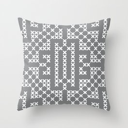 Ultimate Gray White embroidery vintage Farmhouse cross-stitch pattern Throw Pillow