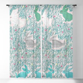 painting for kids-the hares Sheer Curtain