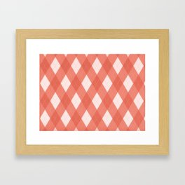 Pantone Living Coral Argyle Plaid, Diamond Pattern Framed Art Print