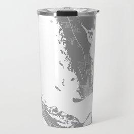Sanibel island map grey Travel Mug