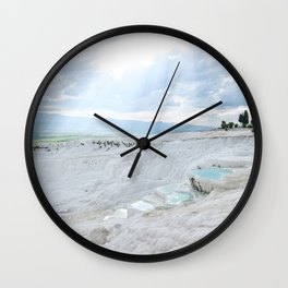 Hot Springs | Ancient Roman Baths Travertine Teal Water Mountain Landscape Photograph Majestic Sky Wall Clock