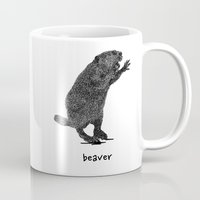 beaver Mugs featuring Beaver by peanut