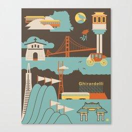 San Francisco Landmarks Pattern  Canvas Print