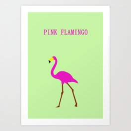 Pink flamingo in Green background Art Print