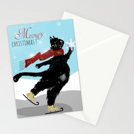 Black Cat Meowy Christmas Stationery Cards