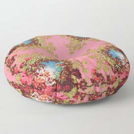 Traditional folk embroidery with flowers Floor Pillow
