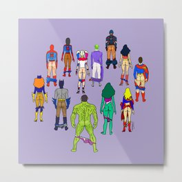 Superhero Butts - Power Couple on Violet Metal Print