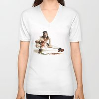 roller derby V-neck T-shirts featuring Roller Derby Girl by FeatherStone