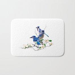 Blue Jays on Flower Branch Bath Mat