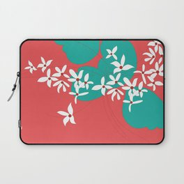 Minimalistic White Flowers On A Red Laptop Sleeve