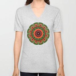 Red Poppies, Nature Flower Mandala, Floral mandala-style Unisex V-Neck
