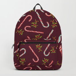 Christmas Candy Cane Pattern Oxblood Red Backpack