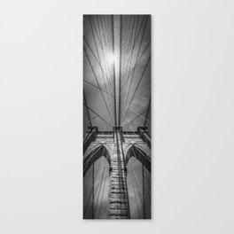 NEW YORK CITY Brooklyn Bridge in Detail | upright slim panorama Canvas Print