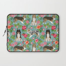 Sheltie shetland sheepdog hawaii floral hibiscus flowers pattern dog breed pet friendly Laptop Sleeve