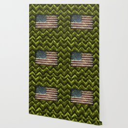 Lime Green Digital Camo Chevrons with American Flag Wallpaper