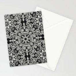 Black & White Folk Art Pattern Stationery Cards